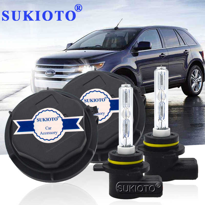 SUKIOTO NO Error 9012 Xenon Headlight 55W 9012 Hir2 xenon bulbs for Edge 2011-2014 bixenon projector lens Bulb 9012 6000K