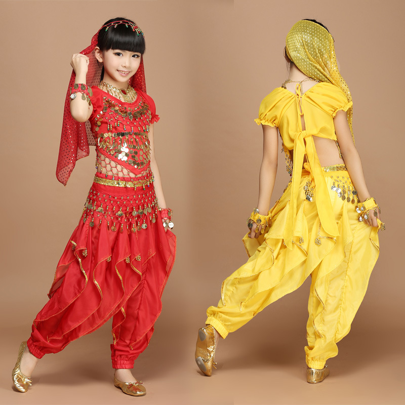 New Fashion Children Girl Indian Belly Dance Costumes Children Oriental Bollywood India Suit for Kids Birthday Gift
