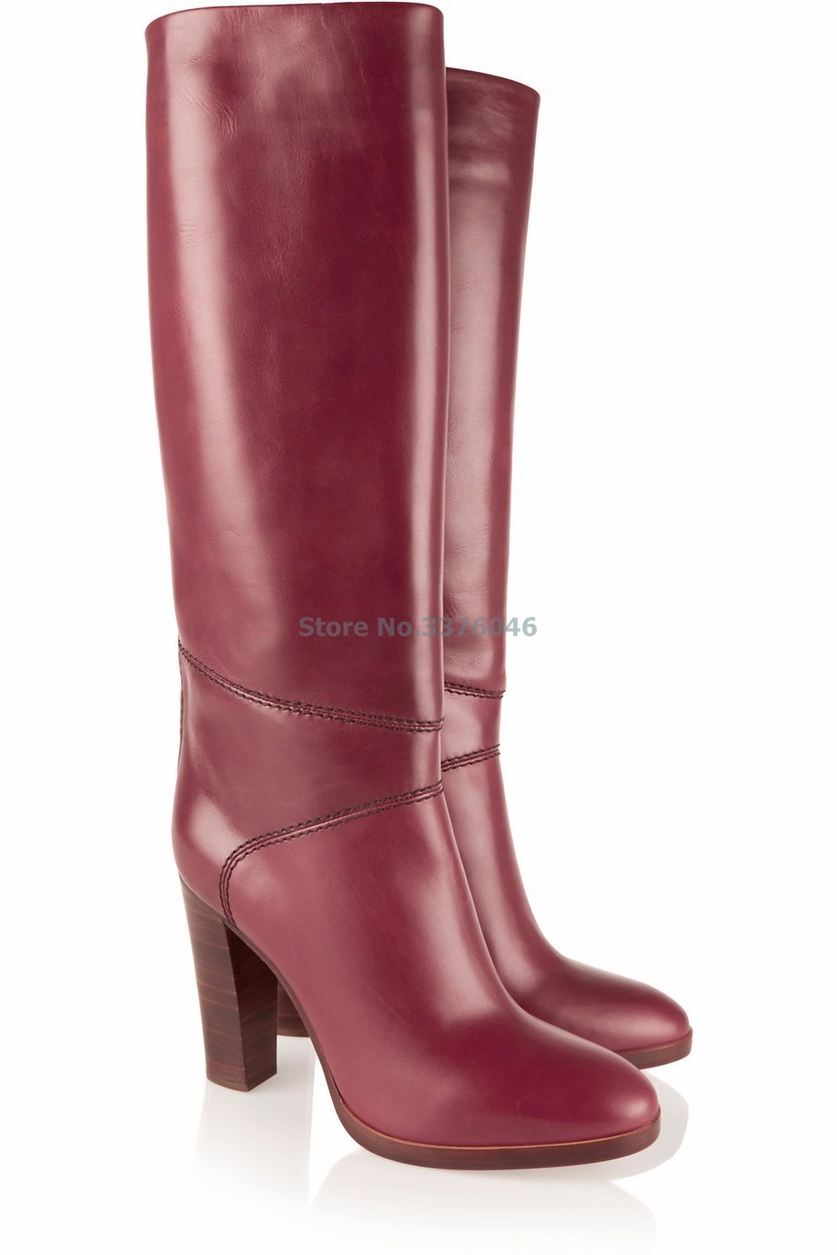 Wine Red PU Leather Thick Heel Knee High Long Boots Round Toe High Heel Concise Elegant Over The Knee Boots Women Riding Boots basic 2018 women thick heel ankle boots black pu fleeces round toe work shoe red heel winter spring lady super high heel boots