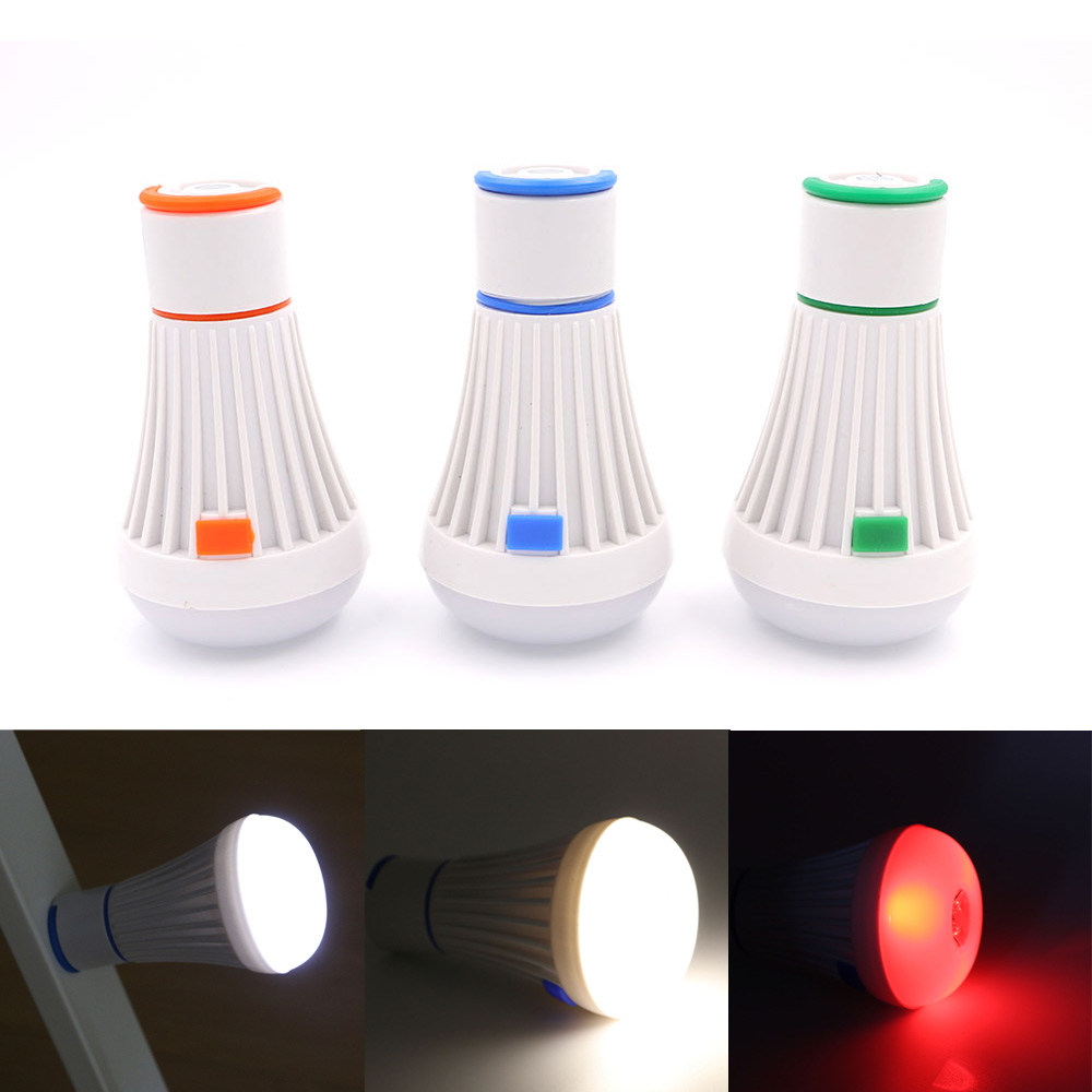 Portable Outdoor Hanging 6 LED Camping Lantern 4 Modes Soft Light LED Magnetic Camp Lights Bulb