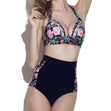 Swimsuit High Waist Bikini 2019 Women's Swimming Suit Separate Two Pieces Swimsuits Push Up Bikini Set Floral Plus Size Swimwear