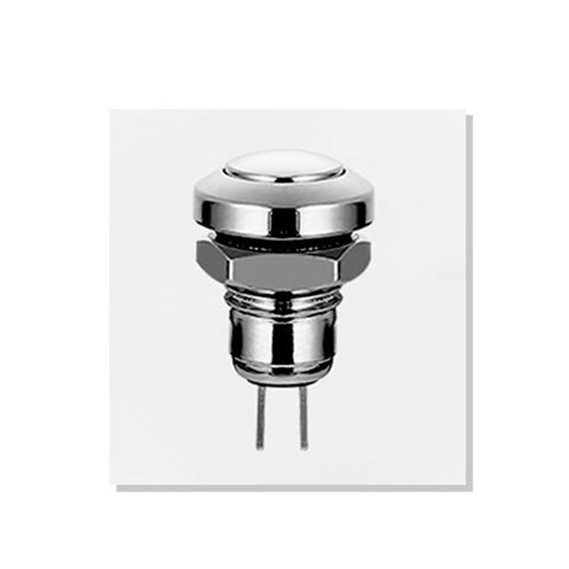 8mm Domed Head Momentary Waterproof IP65 IK08 Metal Push Button Switch 8Q-B1 1NO Stainless Steel Brass Nickel Plated 2 Pins