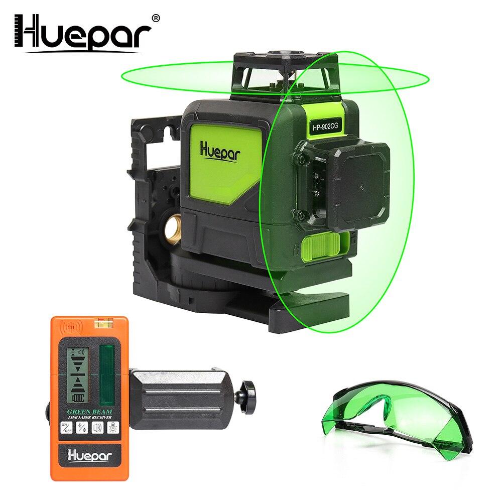 Huepar Auto-nivellement Professionnel Vert Faisceau 360 Degrés Croix niveau Laser de ligne + Huepar Laser Récepteur + Laser Amélioration Lunettes