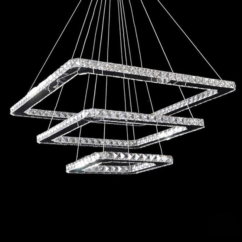 Free Shipping Modern Led Pendant Light Led Pendant Lamp Clear Crystal Stainless Steel 90-265V Suspension Lamp Square Rings free shipping modern led pendant light d80cm pendant lamp clear crystal stainless steel 90 265v suspension lamp dinning pendant