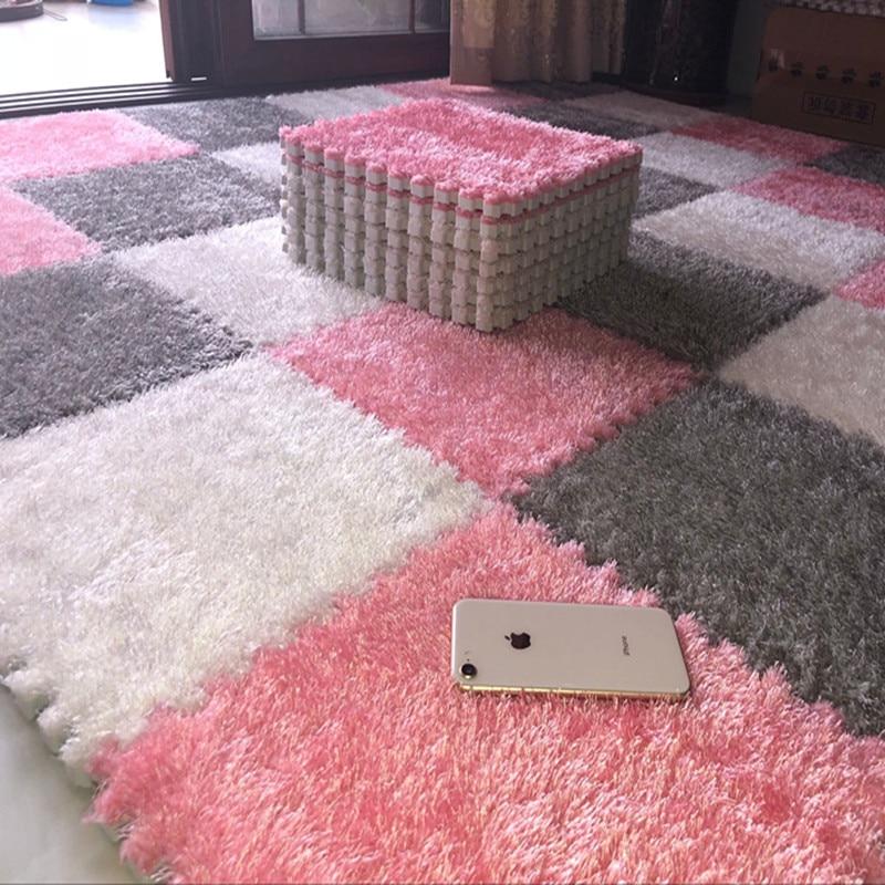 Stitched suede net red carpet jigsaw foam floor mat bedroom full floor mat  36 Rug    - AliExpress