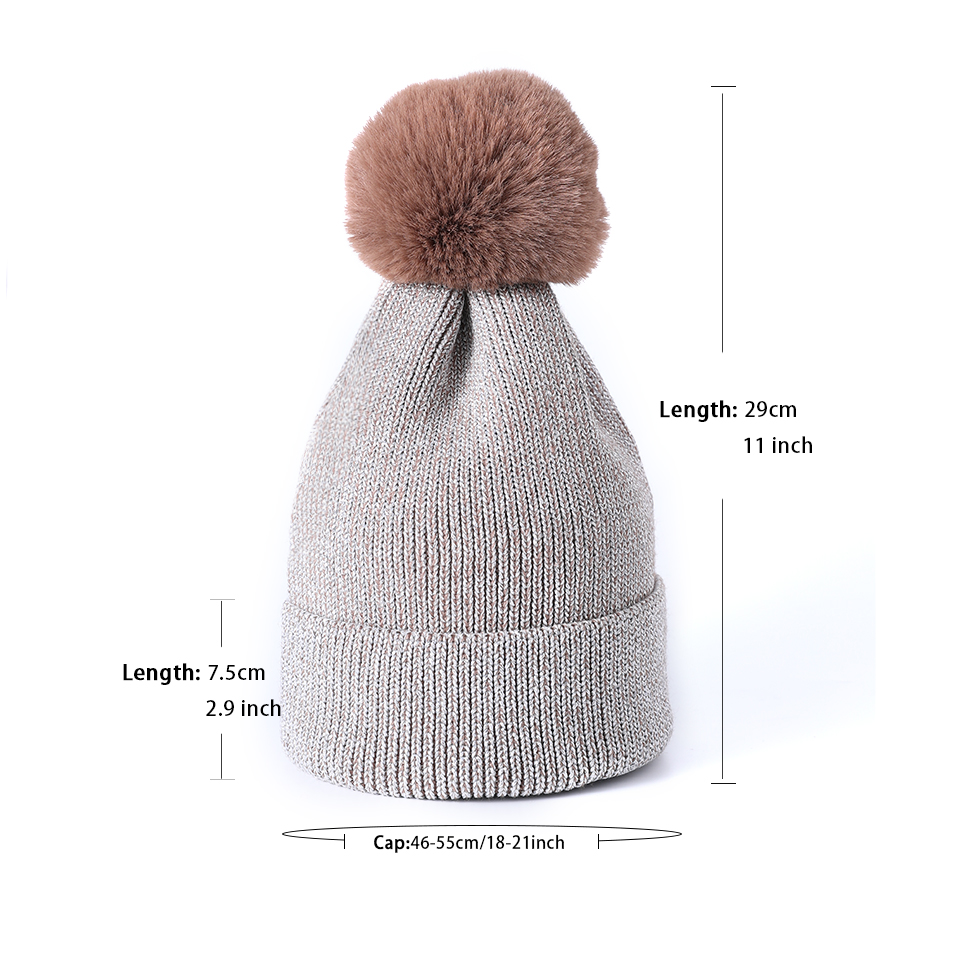 63ff8b47d5b ... 2018 Women S Winter Hat Beanies For Ladies With Pom Pom Fur Skullies  Beanie Hat Female Thick ...