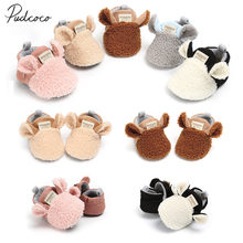 2018 Brand New Toddler Newborn Baby Crawling Shoes Boy Girl Lamb Slippers Prewalker Trainers Fur Winter Animal Ears First Walker(China)