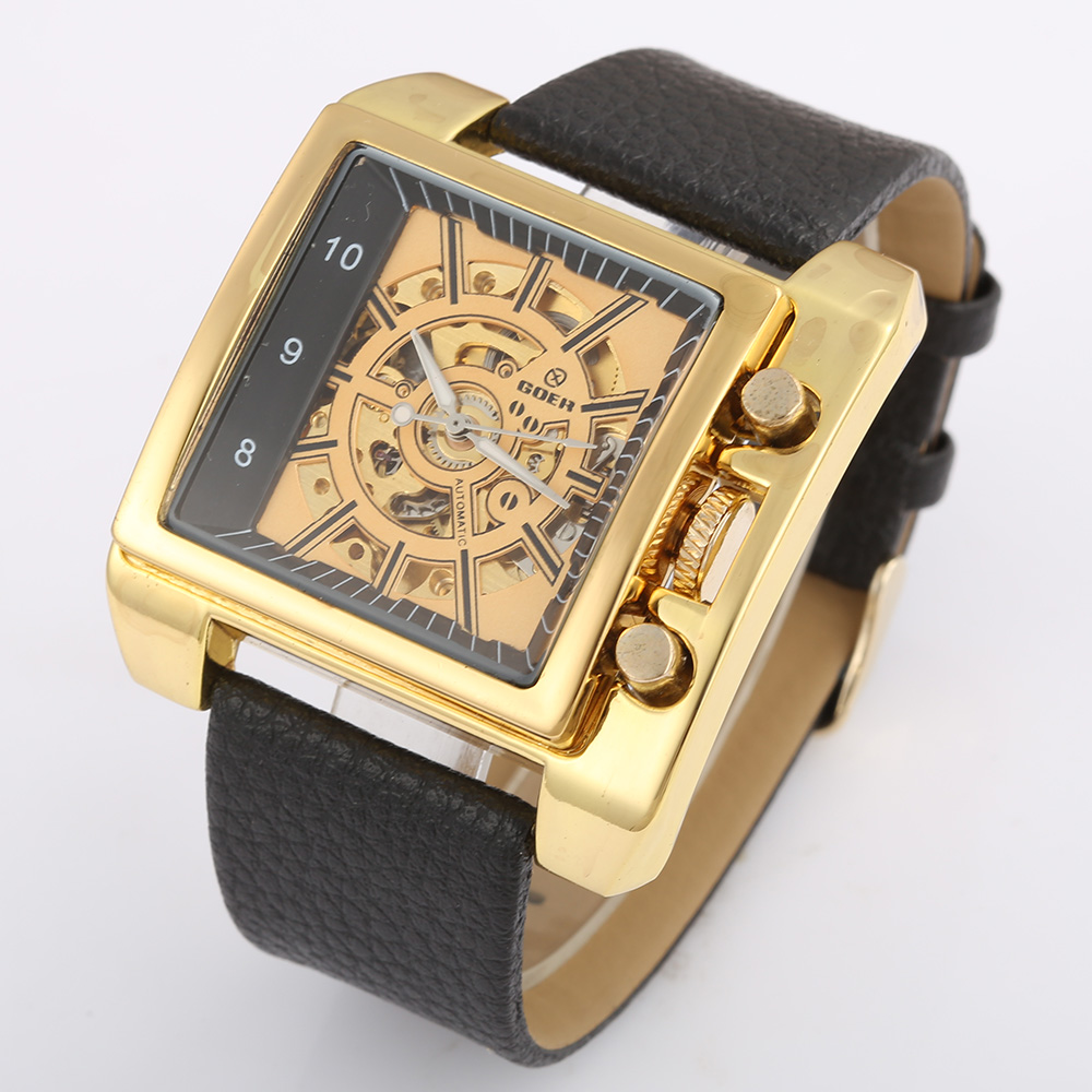 Relogio Masculino Top Brand GOER Watches Mens Gold Skeleton Mechanical Watches Men Luxury Watches Automatic Men Square Watches цена и фото