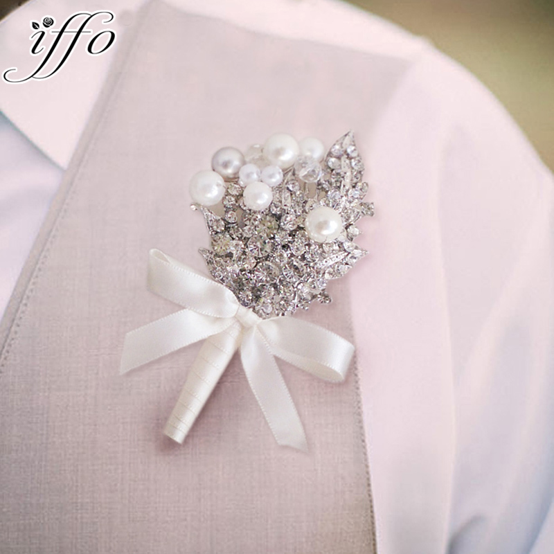 DIY Private Customization Senior Groom Corsages  Crystal Pearl Brooch Boutonniere  Silver White Ivory Men Best Man Corsage