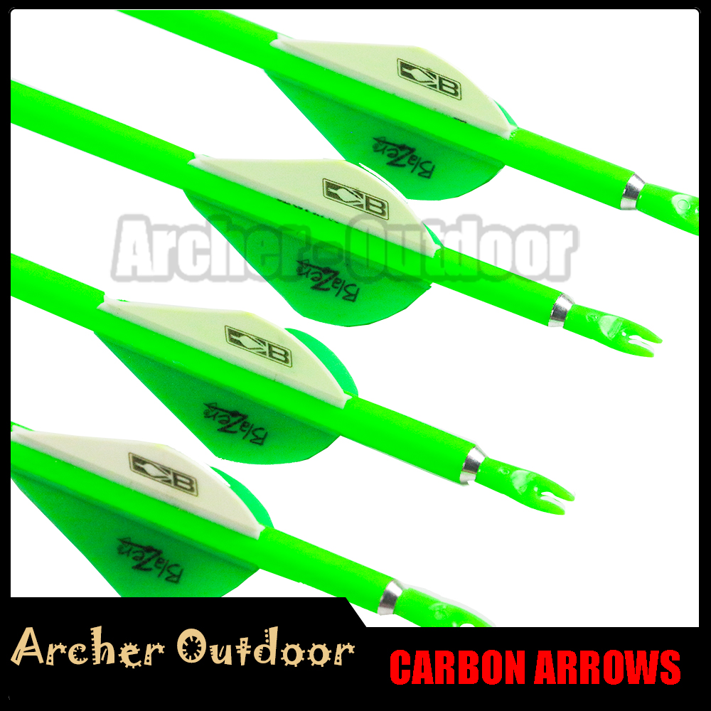 12Pcs Compound Bow Arrow Spine 300 340 400 500 600 ID 6 2mm Plastic Vanes Pin