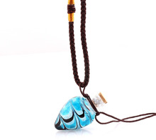 Fashion new Pendant Necklace Colorful Lampwork glass Pendant Necklace Essential Oil Diffuser Spiral Heart Perfume Bottle