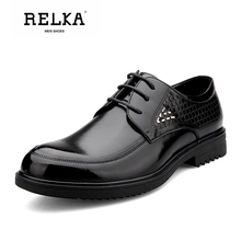 Купить с кэшбэком RELKA Handmade Men Shoes High Quality Genuine Leather Round Toe Soft Low Heel Shoes Solid Casual Lace-up Vintage Men Shoes N25