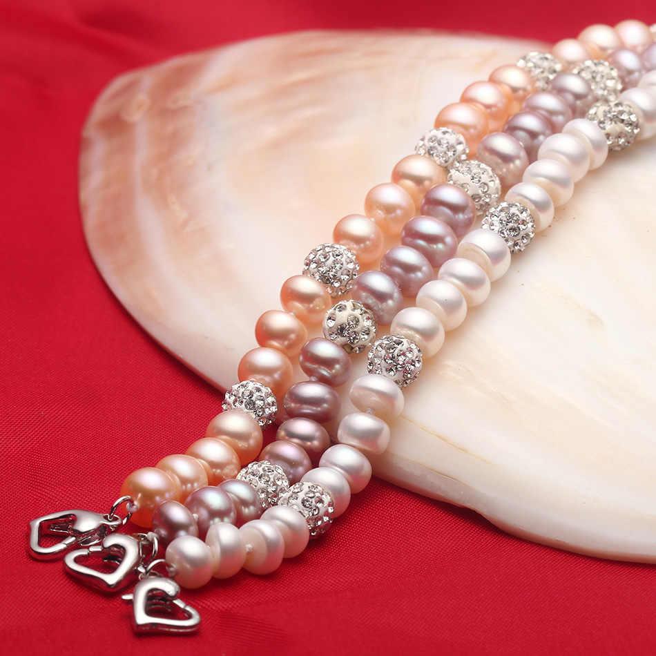 Новинка 2018, очаровательный браслет, ювелирное изделие из жемчуга, браслет из циркона, 100% натуральный пресноводный жемчуг, 925 пробы, серебряный браслет, подарок для женщин