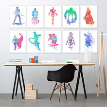 Original Watrercolor Super Heros Batman Hulk Modern Hipster Wall Art Abstract Pop Movie Anime Poster Prints Canvas Painting Gift