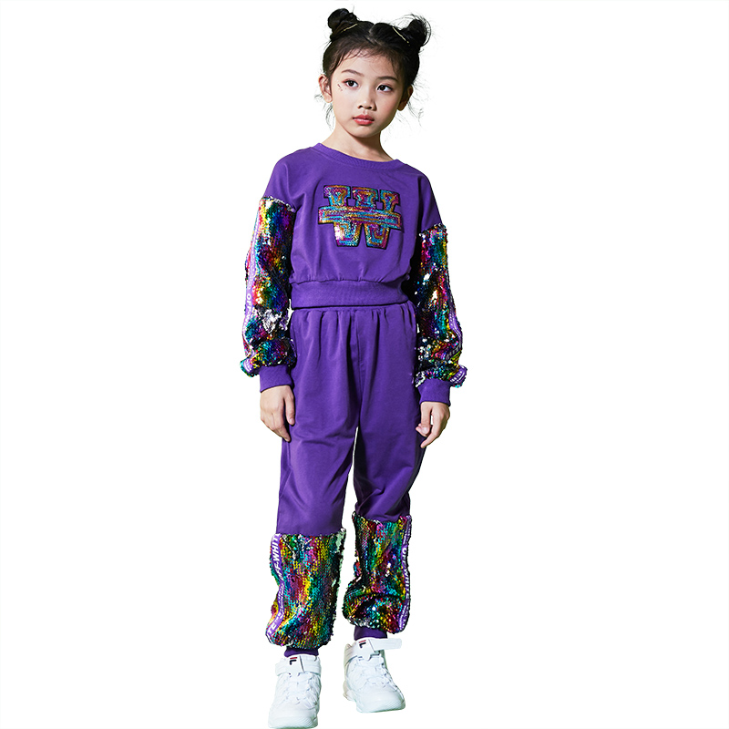 Mode Hip Hop enfants Costume violet Sequin filles Rave tenue Jazz danse Performance vêtements moderne danse de rue porter DC1074