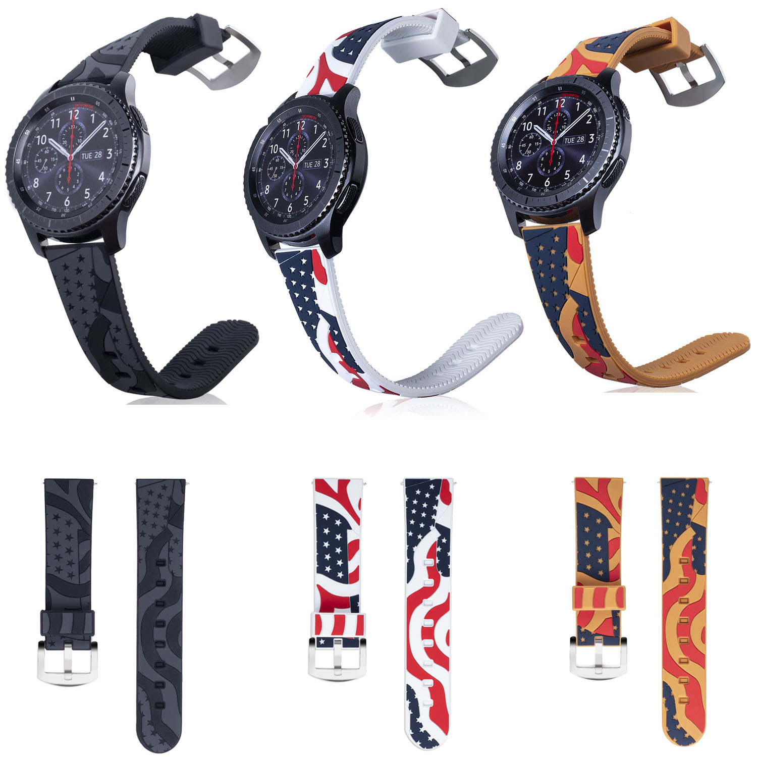 The American Flag Stars and Stripes Silicone Band for Samsung Gear S3 Frontier Strap for Gear S3 Classic Smart Watch Bracelet dt 1130 emf meter for electromagnetic radiation detector 50hz 2000mhz