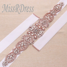MissRDress Rose Gold Crystal Rhinesrones Ribbon Cinturón de novia Cinta nupcial para la boda Prom vestido YS828