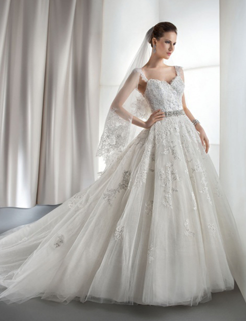 2016 Wedding dresses white wedding gown 2015 Custom Embroidered Bridal Gown  A-Line Lace Beads Crystal Wedding Dress Lucky Angel 1e2c82e7b5be