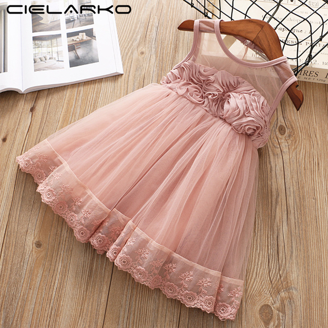 33bff4374 Cielarko Party Dress for Girls 2018 Summer Lace Floral Baby Birthday ...
