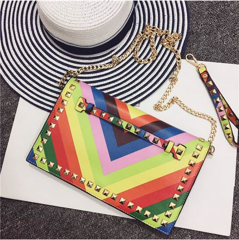 2017 Summer Female Rainbow Day Clutches Ladies Mini Chain Bag Rivets Wrist Envelope Clutch Small Crossbody