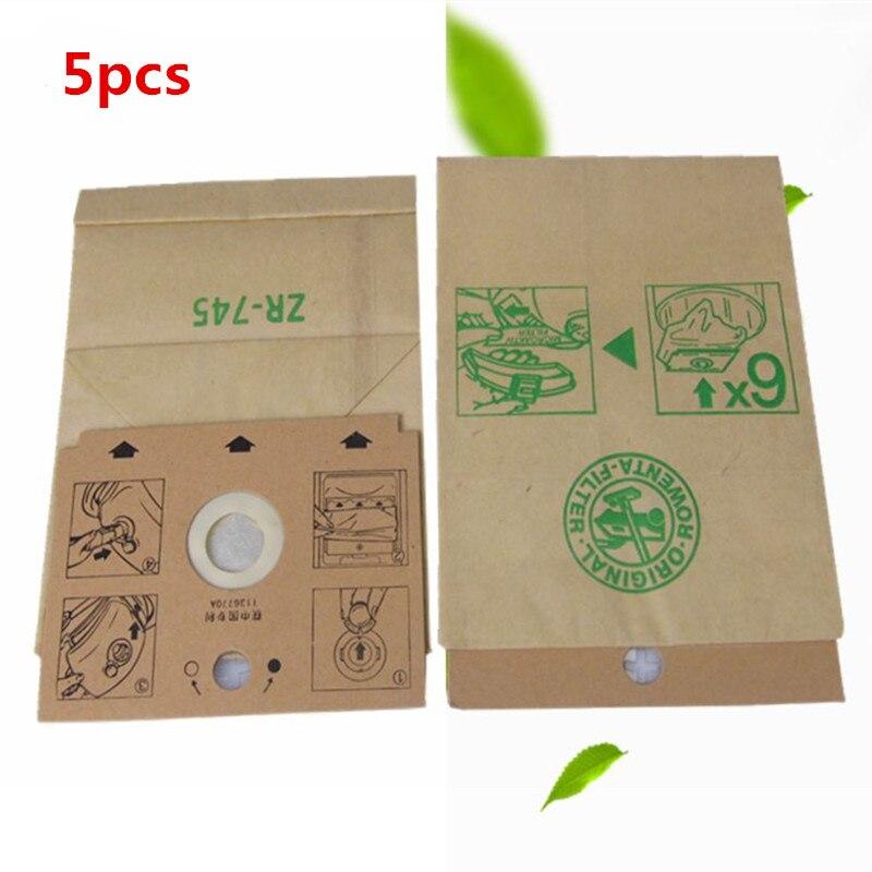 5 piezas de Rowenta de bolsa de papel de ZR745 RS068 RS007 RS005 RS035 RS063 piezas de limpiador de vacío de