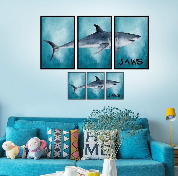 Underwater Sea Fish Shark Wall Stickers For Kids Rooms 3D Pvc Cartoon Ocean  Window Bathroom Part 88