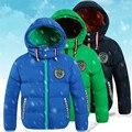 Vestuário 2016 das crianças criança para baixo algodão-acolchoado casaco de inverno masculino criança além de veludo amassado espessamento jaqueta com a capô