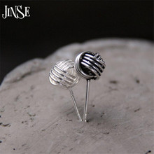 New Real 925 Sterling Silver Jewelry Twine Twisted Love Knot Stud Earrings Tinny Ball Womens 7mm 5mm 3mm