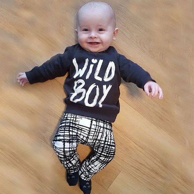 7a95a7c0 US $11.39 5% OFF|Halloween Baby Boy Set Clothes Fall Letter Top+Plaid  Casual Trouser 2PCS Suit For New Born Infant 1st Birthday Outfits Gift 0  2T-in ...