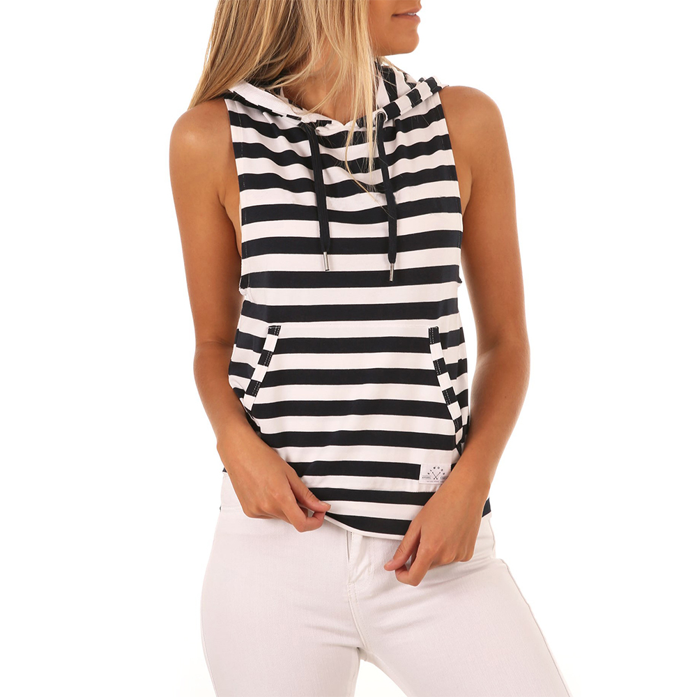 Womens Vest Summer 2018 Fashionable Striped   Tank     Top   Women Sleeveless Hooded Streetwear Sexy   Top   Loose Casual T Shirt   Tops   XY295
