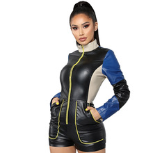 Contrast Color Patchwork Short Playsuit Women PU Leather Front Zipper Party Bodysuit Streetwear Stand Collar Pockets Overalls
