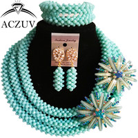 ACZUV Dubai Jewelry Sets for Women Light Aqua Blue Crystal Beaded African Wedding Beads Nigerian Necklace and Earrings B3R004