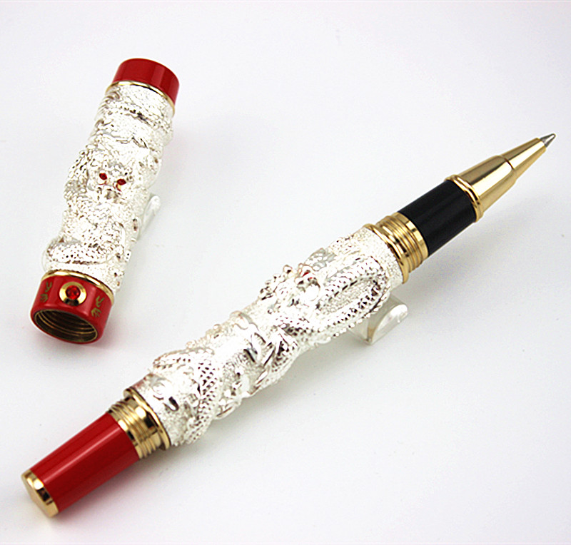 AAA quality JINHAO silver double Dragon embossment brand roller ball pen stationery office supplies writing smooth pens gifts jinhao exquisite silver dragon sculpture roller ball pen office stationery luxury brand collection gift pens with set pen box