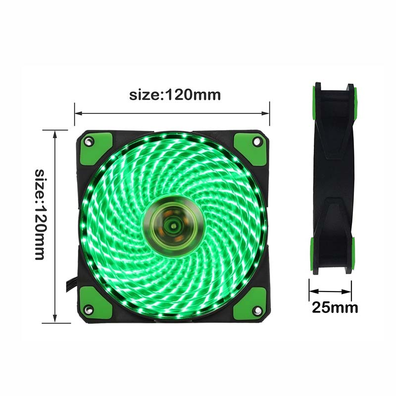 Image 2 - 10pcs/1pcs portable fridge 12cm Computer Cooler Fan 16dB Ultra Silent 15 LEDs PC Game Airflow Fans with 2in1 Cable Cool Heatsink-in Fans & Cooling from Computer & Office