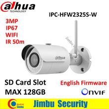 Dahua 3MP IP Camera IPC-HFW2325S-W WIFI IR50M IP67 mini camera WIFI SD Card slot Network outdoor  Camera replace IPC-HFW1320S-W