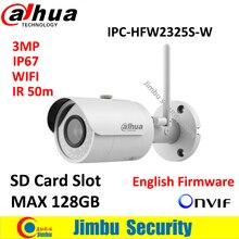 Dahua 3-МЕГАПИКСЕЛЬНАЯ Ip-камера IPC-HFW2325S-W WI-FI IR50M IP67 мини камеры WI-FI SD Card слот Сетевая уличная Камера заменить IPC-HFW1320S-W