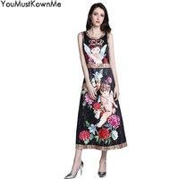 YouMustKnowMe дизайнерские платья взлетно посадочной полосы 2018 лето высокого качества пикантные женские без рукавов ангела с цветочным принтом т