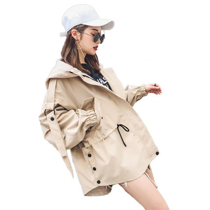 Korea spring new short casual women's windbreaker short bf tooling student loose   trench   coat cap bat sleeve windbreaker W142