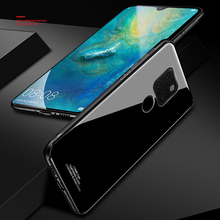 Tempered Glass Case for Huawei Mate 20 Pro Hard Back Cover Soft Silicone Bumper For 20Pro