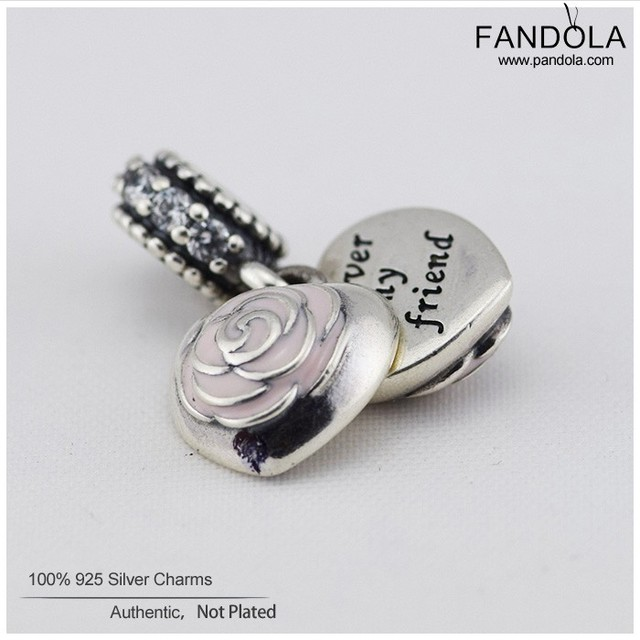FL205 Genuine 925 Sterling Silver Beads Rose Silver Heart Dangle Charms Forever My Friends CZ Pave Dangle DIY Charms Free Ship