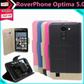 Мода Роскошь Флип Кожаный Защитный Телефон Чехол для RoverPhone Optima 5.0 Пакета(ов) с Слот Для Карты Стиль 5 Цвета В на складе