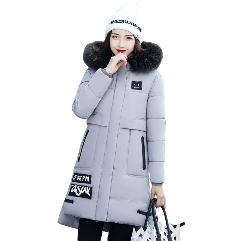 High Quality 2017 Winter Jacket Women Cotton-padded Large Fur Collar Women Thicken Warm Parkas Female Hooded Coat Outwear CM1364 children thicken warm winter coat kids cotton padded jacket wadded outwear thickening boys girls fur hooded parkas clothes y105