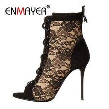 ENMAYER  Casual Lace-Up Sandalia Feminina Women Shoes High Heels Sandals Woman 2019 Size 34-43 ZYL2503