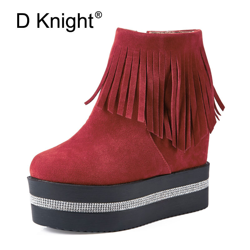 Tassel Women Fashion Boots Height Increasing Round Toe Ankle Boots Women Autumn Winter Crystal Thick Bottom Platform Shoes Woman цены онлайн