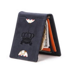 Image 2 - CONTACTS billetera de cuero genuino anti RFID para hombre, billetera masculina de cuero genuino con Clip para dinero, billetera de Caballo Loco, pinza plegable delgada para dinero en efectivo