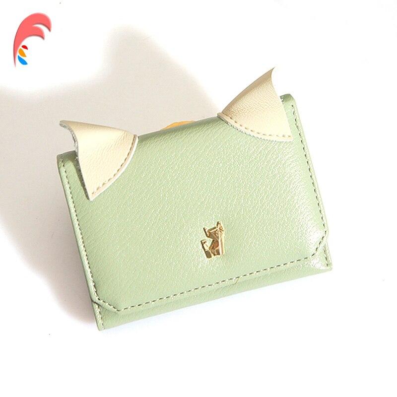Leather Small Wallet Women Luxury Brand Famous Mini Women Wallets Purses Female Short Coin Cute Cat Purse Credit Card Holder wallet