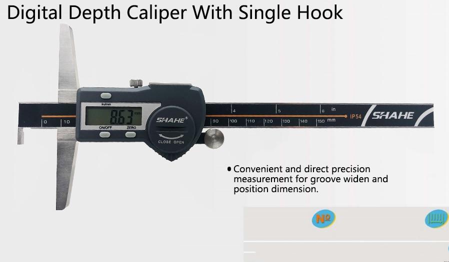 0.01mm 150 200 300mm numérique étrier micromètre en acier inoxydable crochet Simple jauge de profondeur Numérique jauge de profondeur
