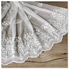 1M Embroidery Lace Fabric DIY Craft Garment Wedding Saree Guipure 48cm Width Lac