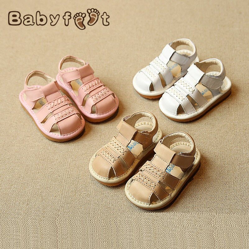 Babyfeet 0-3 years old boys girls sandals Baby Toddler shoes Cow Leather Genuine Leather princess shoes Children's sandals 19-24 babyfeet summer cool toddler shoes 0 2 year old newborn baby girl