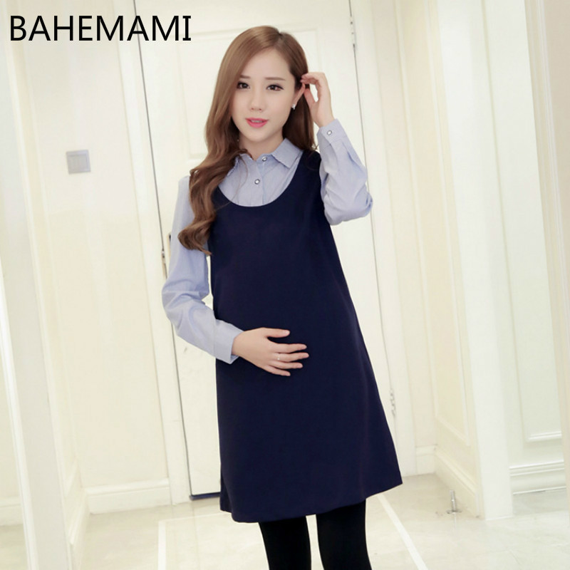 Maternity Dress Fashion New Pattern Lapel Long Sleeve Thickening Increase False Hair Two Paper Long Fund Pregnant Woman Dress